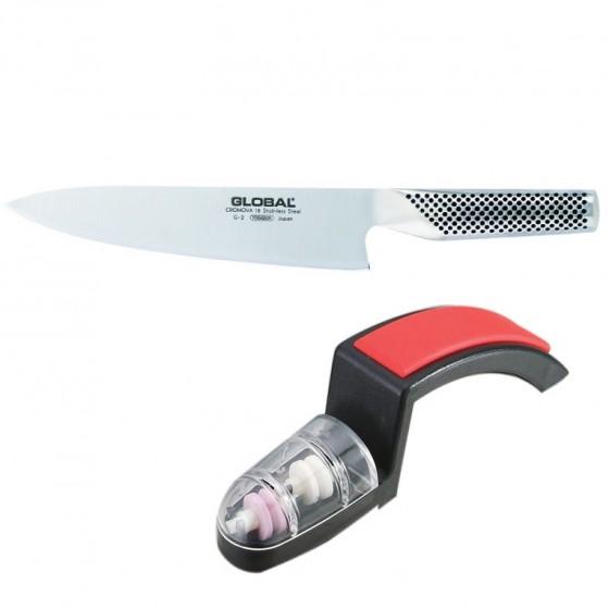 G-2220BR Global Kochmesser G-2 + Minosharp Messerschärfer Aktion