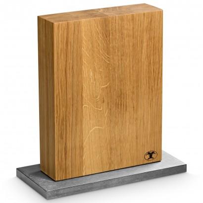Blockwerk Messerblock Eiche / Stahlfuss für 8 Messer