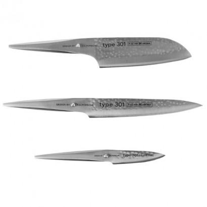 CHROMA type 301 Hammerschlag Messerset 3-teilig P529HM