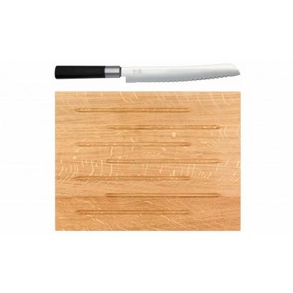 KAI Wasabi Brotmesser 6723B + Schneidbrett Eichenholz